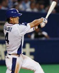 6回裏、1死満塁から藤井が左越えに逆転満塁本塁打を放つ=ナゴヤドーム