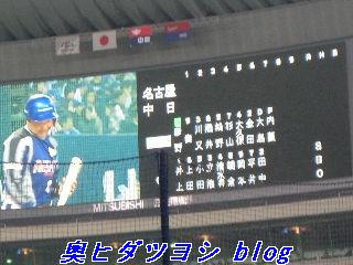 中日ドラゴンズ対名古屋エイティデイザーズ戦のスタメン=2007ファン感謝デー