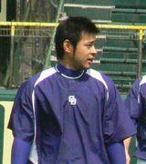 甲子園球場で練習する5日の先発が予想される朝倉健太
