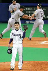7回表、金本に先制2ラン本塁打を浴びた朝倉=ナゴヤドーム