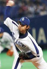 ヤクルト戦に先発して今季初勝利を挙げた朝倉健太=ナゴヤドーム