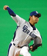 7イニングを無失点と好投して勝ち投手になった朝倉健太=ナゴヤドーム