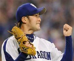 プロ初完封で球団新記録の開幕9連勝を達成し、ガッツポーズする川井雄太=ナゴヤドーム
