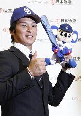 中日から1位指名された日本通運・野本圭外野手=日本通運本社