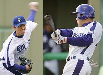 先発して好投した佐藤亮太(左)と4安打を放った沢井道久(右)=刈谷