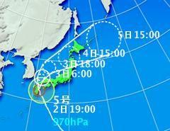 宮崎県日向市付近に上陸した台風5号ウサギ