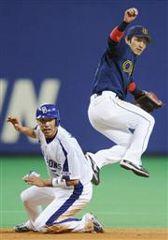 6回裏、1死一、三塁で中村紀の三ゴロで一塁走者和田が二封後併殺となる。二塁手後藤=ナゴヤドーム
